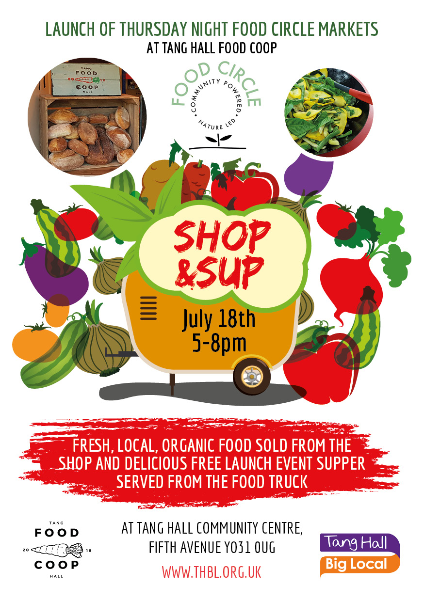 Advertisement for Tang Hall Food Coop Shop and Sup event.